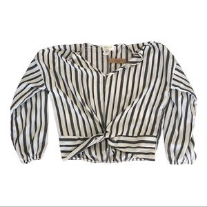 Lavender Field wrap style striped blouse Large NWT